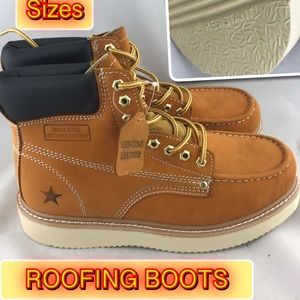 Roofing Nubuck Leather Men's Work Boots wide width